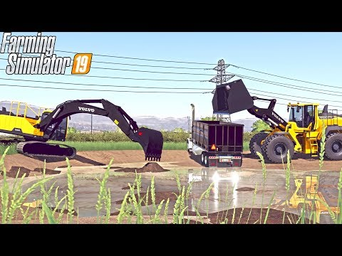 EXCAVATING A POND! | HEAVY EQUIPMENT | EXCAVATING COMPANY | FARMING SIMULATOR 2019