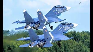 Takeoff Russian Fighters Jets! Aircrafts Su-30SM Perform Aerobatics