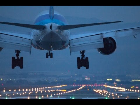 【NightView】Airplane arrival and departure scene at Osaka International Airport Japan.