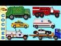 Aprender los Nombres de Vehiculos. Camion de la Basura. Camion de Bomberos. Coche de Policia