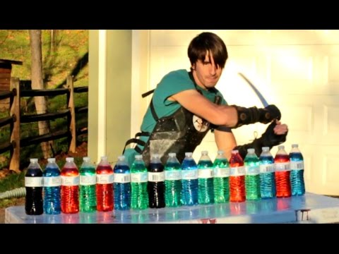 Katana Vs Plastic Water Bottles - Slow Motion