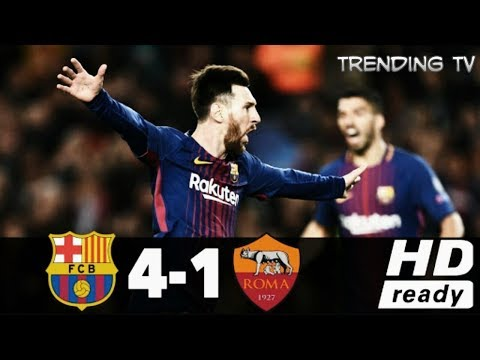 Highlights & All Goals Champions League Barcelona 4-1 AS Rom
