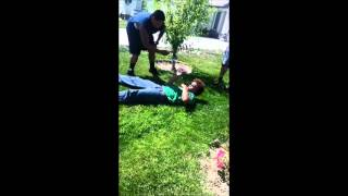 he gets choked and put to sleep then slapped by the homie to wake u...