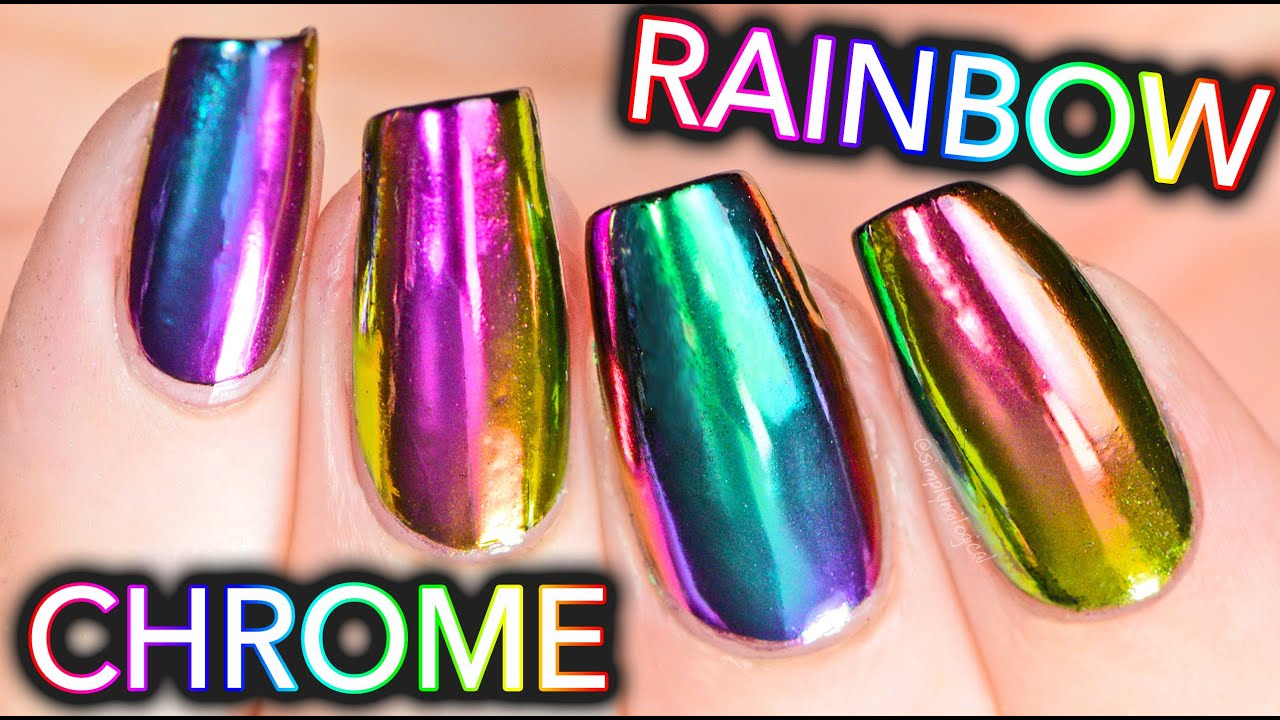 DIY RAINBOW CHROME Nails w/ NEW multi-chrome powder! NO GEL! - YouTube