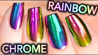 DIY RAINBOW CHROME Nails w/ NEW multi-chrome powder! NO GEL!