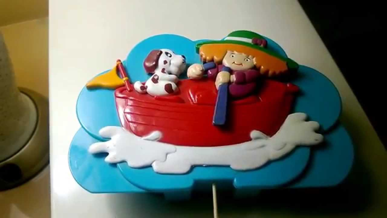 Animated Row Your Boat Music Box Crib Toy W Girl Rowing Dog