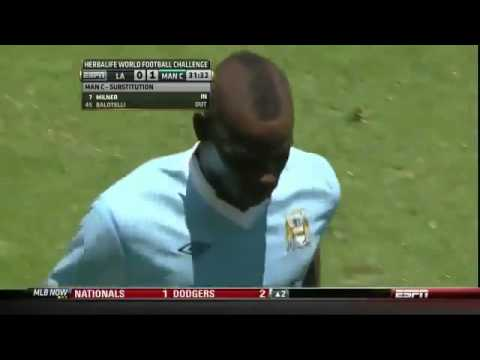 LA Galaxy Vs Manchester City 1-1 - Mario Balotelli's Stupid Trick & Gets Subbed Off - July 24 2011