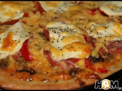 Пицца рецепт  Классическая тонкая пицца с начинкой Ассорти
