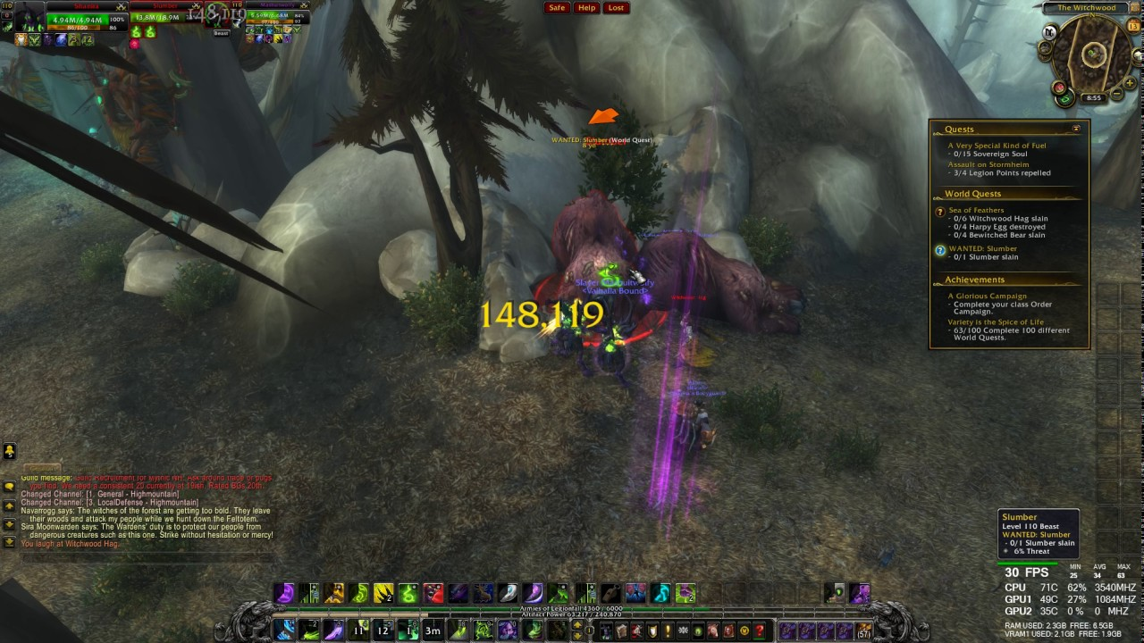 World Quest Wanted Slumber Slain Wow Legion Hd 1080p 60fps Youtube