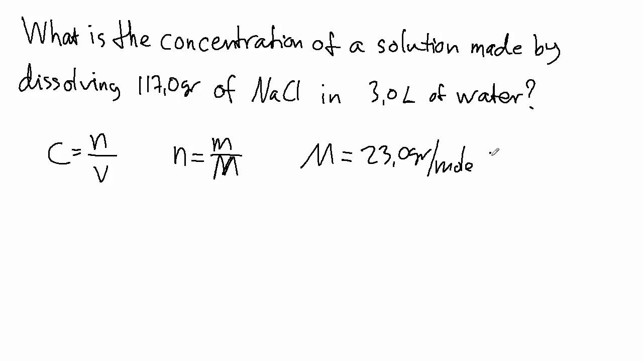 Example  How To Find The Concentration Of A Solution