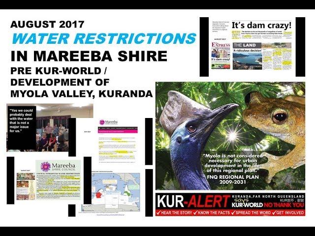 KUR-ALERT, KUR-WORLD, KUR-COW: MAREEBA SHIRE WATER RESTRICTIONS 2017