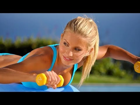 38-Min Beginner Total Body Workout with Dumbbells & Swiss Ball 300-350 Calories