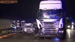 19.12.2017: Lastwagen rast auf A 20 bei Bad Doberan in Kleinwagen - 63-Jähriger stirbt in Wrack
