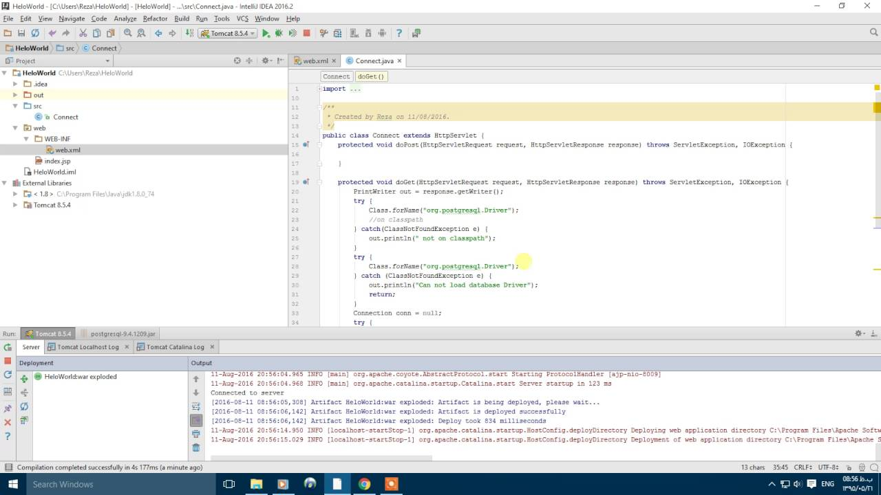 Adding Jar files to classpath in Intellij IDE for connecting to Postgresql  using jdbc Driver