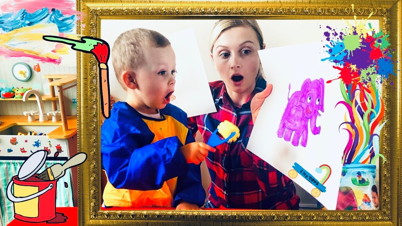 Kids learning colors and animals, kids fun time painting
