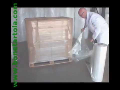 Embalaje de palets con lamina cubrepalet de film plastico for Cajas de plastico transparente
