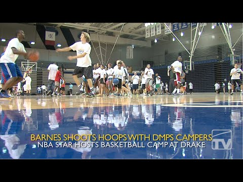 Harrison Barnes Shoots Hoops with DMPS Campers