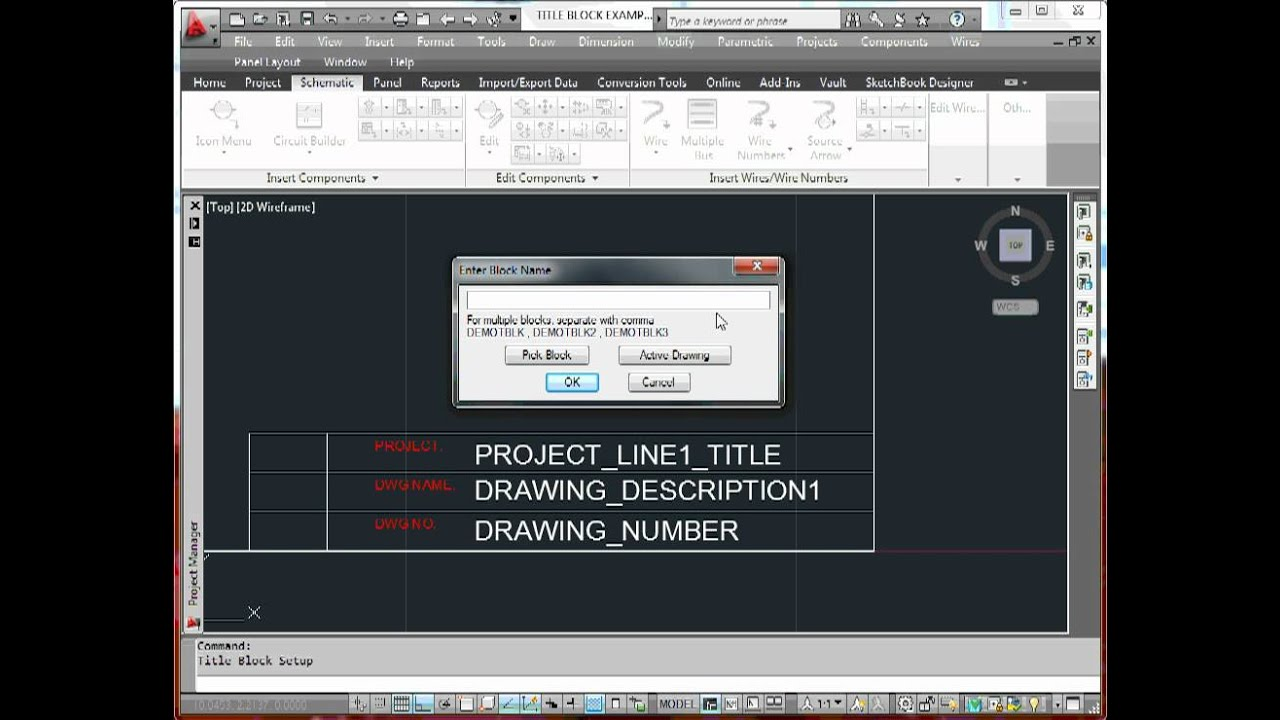 autocad electrical title block setup method