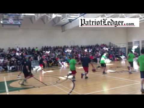 The first minute of the Student v. Teachers basketball game at Furnace Brook Middle School in Marshf