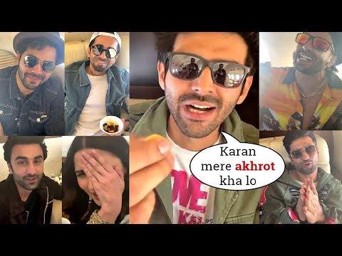 Kartik Joins Ranbir Alia & Others Making Fun Of Karan Johar Toodles In Flight @FilmfareAwards2020