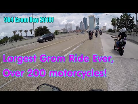Largest Honda Grom Ride EVER! 904 Grom Day 2018. Jacksonville, Florida.