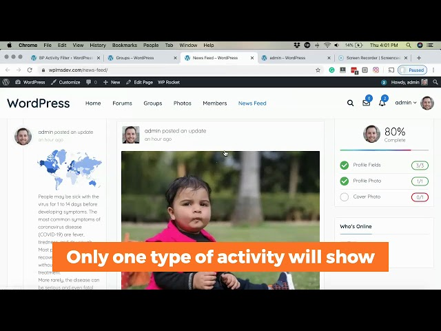 Change default Everything activity or remove activity type from BuddyPress sitewide and Profile wall