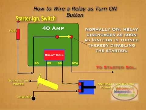 hqdefault how to wire relay starter kill switch youtube jd1914 relay wiring diagram at gsmportal.co