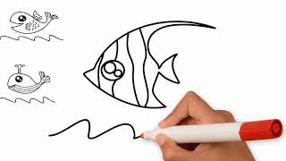 How to draw 6 types of fish for toddlers and kids - Easy Draw Toy Art