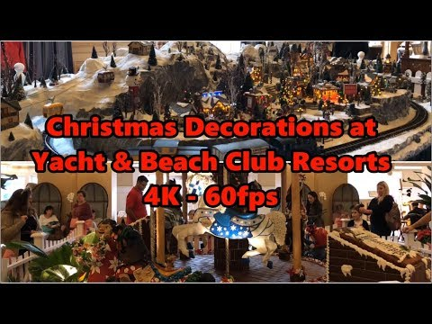 Christmas Decorations at Disney's Yacht and Beach Club Resorts in 4K 60fps | Walt Disney World