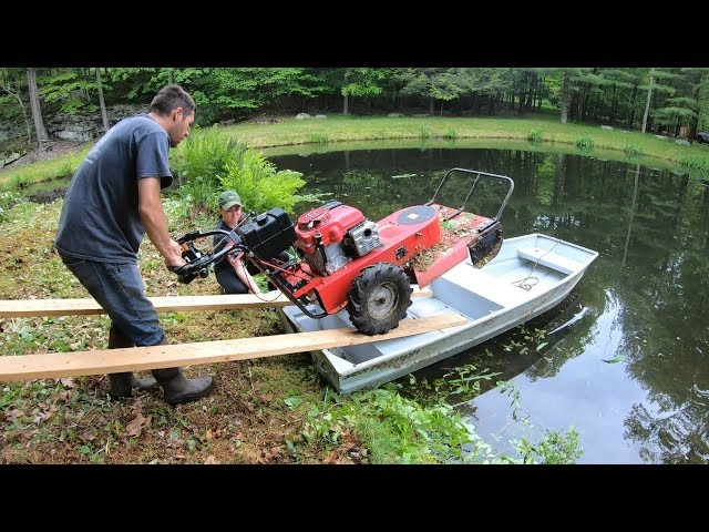 Brush mowing an island