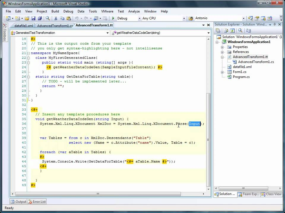 Generate Code from XML Files with T4 Text Templates - tangible T4 ...