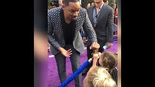 WILL SMITH is freaking cool with 2 little girls in Aladdin red carpet