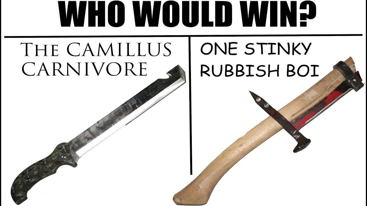Worst Knife EVER? -The Camillus CARNIVORE vs  Axe Made of Literal Trash-