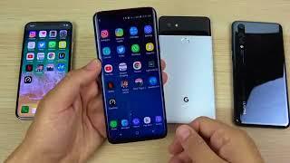 Galaxy S9 vs iPhone X vs  Plus vs Google Pixel 2 XL vs Huawei P20 Pro Speed Test00