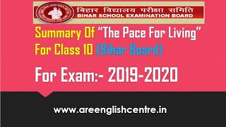 The Pace For Living Summary For BSEB 10th Students 2020