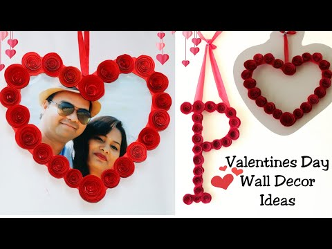 Diy Heart Photo Frame Wall decor| Letter Decor with paper flowers|Valentines day wall hanging ideas
