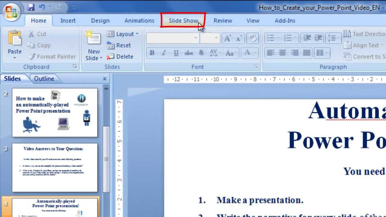 Slideshow powerpoint automatic transition