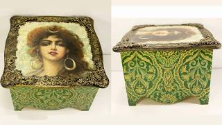 #64 decoupage of wooden box in turkish style and mixed media technique