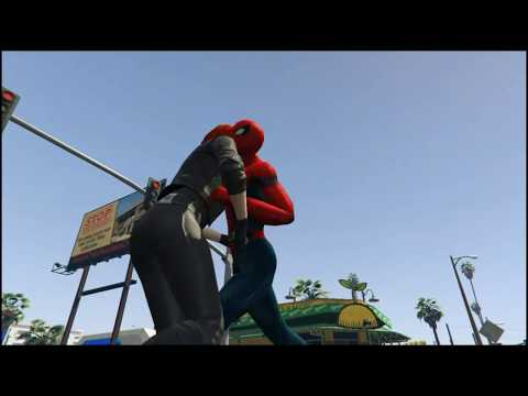 SpiderMan VS Black-Widow Mixed Fight (GTA 5)