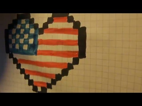 Рисуем флаг Америки в сердечке.Урок №11