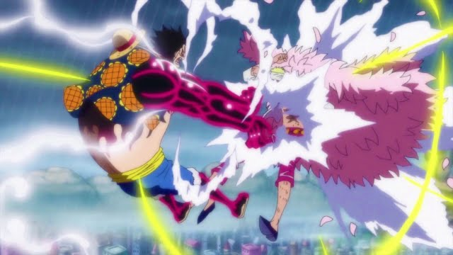 Anime Sweet Wallpaper Luffy Vs Doflamingo Gear 4 Leo Bazooka One Piece