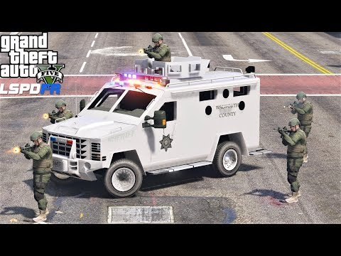 GTA 5 LSPDFR 0.4.1 New SWAT Lenco Bearcat Responds To Pacific Bank Heist - Real Life Police Mod #711