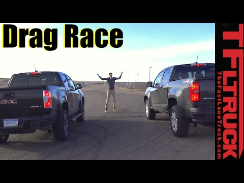 2017 GMC Canyon Duramax vs Chevy Colorado V6 Drag Race: Diesel vs Gasoline 0-60 MPH Mashup