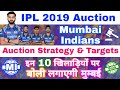 IPL 2019 Auction - Mumbai Indians Auction Strategy & 10 Targeting Players