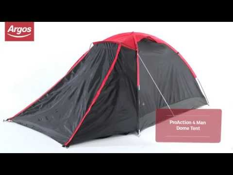 huge discount 223cd af14e ProAction 4 Man Dome Tent Argos Review - YouTube