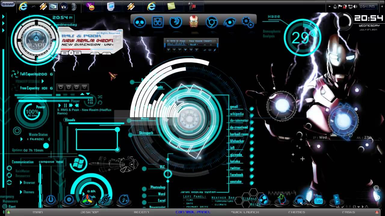 3d Illusion Wallpapers Hd Iron Man Windows 7 Prototype Theme 2011 Mp4 Youtube