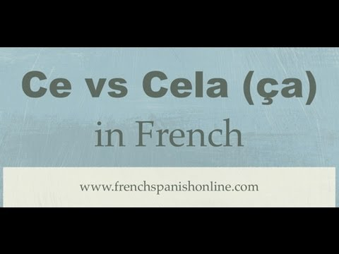 Ce vs Cela (or ça) in French