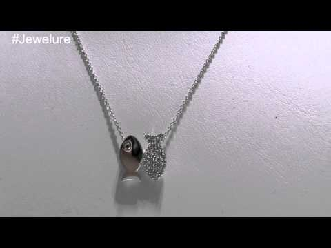 Sterling Silver Fish Pendant Necklace Set With CZ Accents