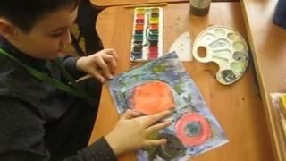 """Тематический урок """"Я рисую космос"""" в 1 классе - 12.04.2017"""