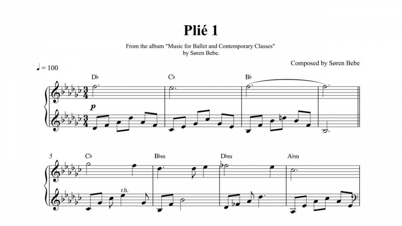 Plié 1 - Scrolling Sheet Music Video (Scrolling Score Video) Free Sheet  Music